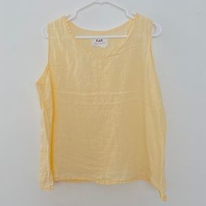 FLAX Jeanne Engelhart Medium Linen Tank Top Yellow
